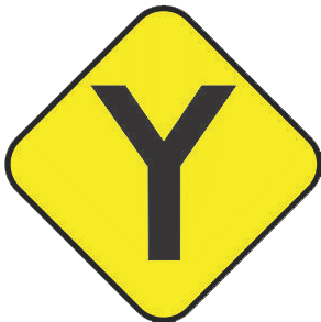 Y-fork traffic sign