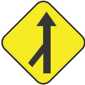 Merging of cars traffic sign