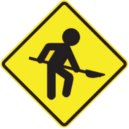 Workers along the way traffic sign