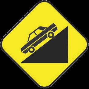 Dangerous slope traffic sign