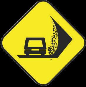 Falling rocks traffic sign
