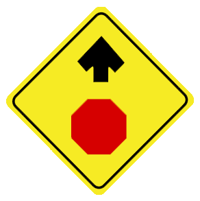 Stop sign ahead traffic sign