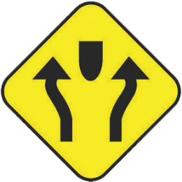 Divided road traffic sign