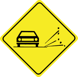 Loose gravel traffic sign