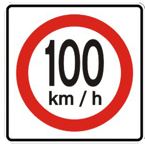 Top speed traffic sign
