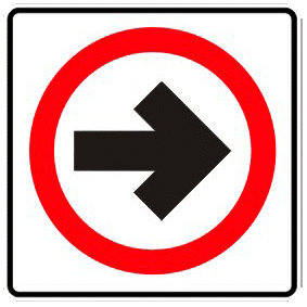 Shows a one way street traffic sign