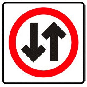 Where a one way street changes to two traffic sign
