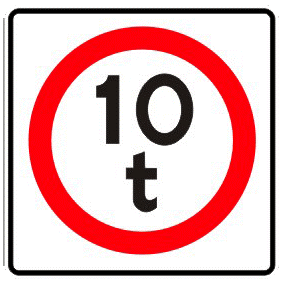 Restricted weight traffic sign