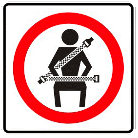 Seatbelts required traffic sign