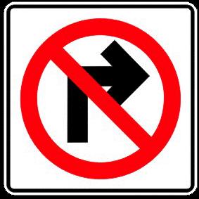 Forbidden right turn traffic sign