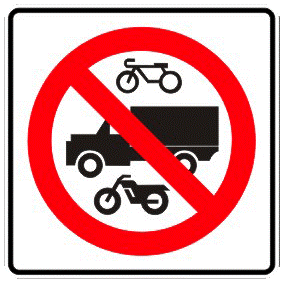 No passage to motorcycles, heavy vehicles and bicycles traffic sign