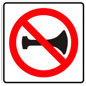 Banned from using the horn traffic sign