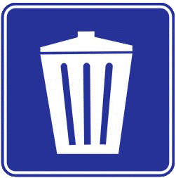 Trash cans traffic sign